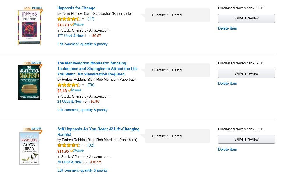 PurchasedHypnosisBooks